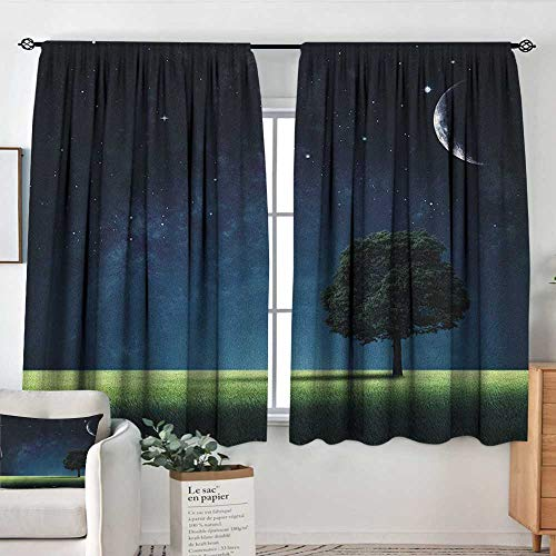 (Home Decoration Thermal Insulated Curtains Night,Abstract Natural Composition with Lonely Tree in Park Crescent Moon in Sky, Dark Blue Green White,for Bedroom,Nursery,Living Room 55