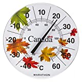 "Marathon Housewares BA030002-WI Canadian 12"" Indoor/Outdoor Dial Thermometer - Windy Maple"