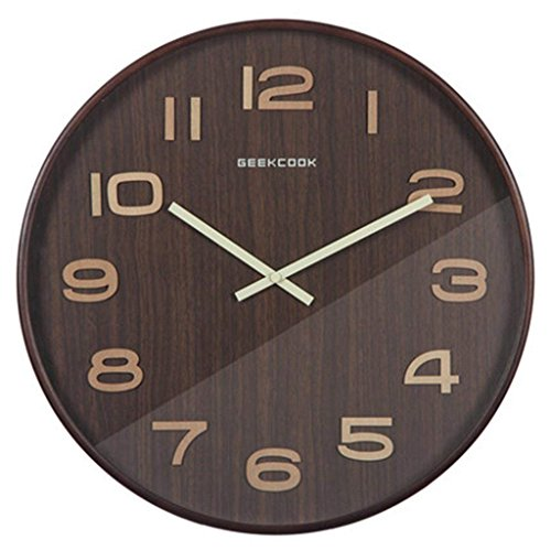 GuoEY Round Wooden Clocks 14 Inches Modern Minimalist Wall Clock Quiet Living Room Office Linked Watch Clock Walnut Color, Size : M