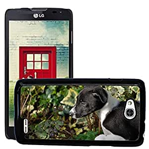 Hot Style Cell Phone PC Hard Case Cover // M00115890 Lurcher Puppy Canine Dog Pet Black // LG Optimus L90 D415