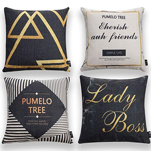 Pumelo tree Throw Pillows Cover Black and White Texts Pack of 4 Cushion Case Set Cozy Burlap Pillow Cases for Home Decoration Sofa Bedroom 18