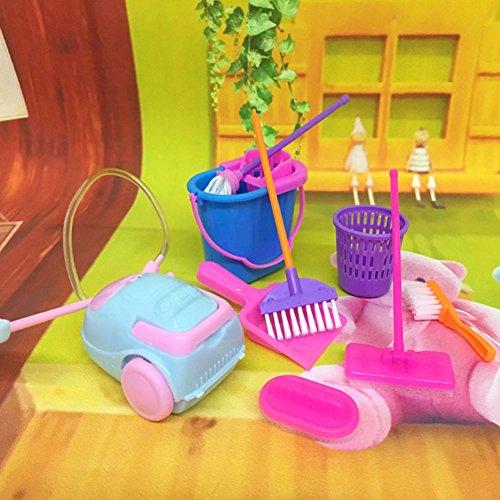 Amyove - Juego de 9 piezas de juguetes de limpieza para el hogar para escoba o escoba, juguete pretendido para niños