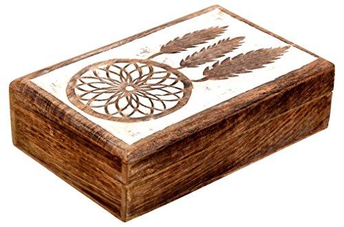 SAAGA Multipurpose Decorative Wooden Jewelry Trinket Holder Keepsake Storage Box with Dream Catcher Carving/Handmade : 8x5.5x2.5 inches (LxBxH)
