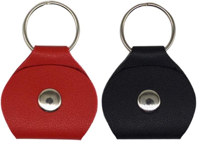 2 Pack Guitar Picks Holder Case Leather Case Keychain Plectrum Case Bag Black Red