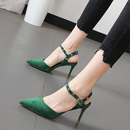 punta zapatos mujer ranurada la alto con de delgada sandalias de y Qiqi alto de mujeres El tacón verde Xue satinado talón luz hueca w78x0