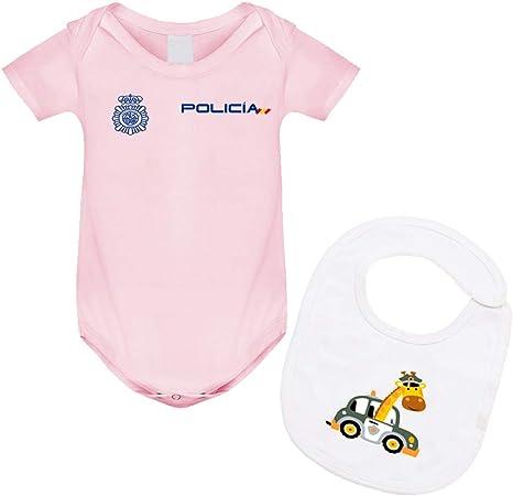 body bebé policía nacional y babero, regalo original para recién nacidos. (Rosa, 12 Meses): Amazon.es: Bebé