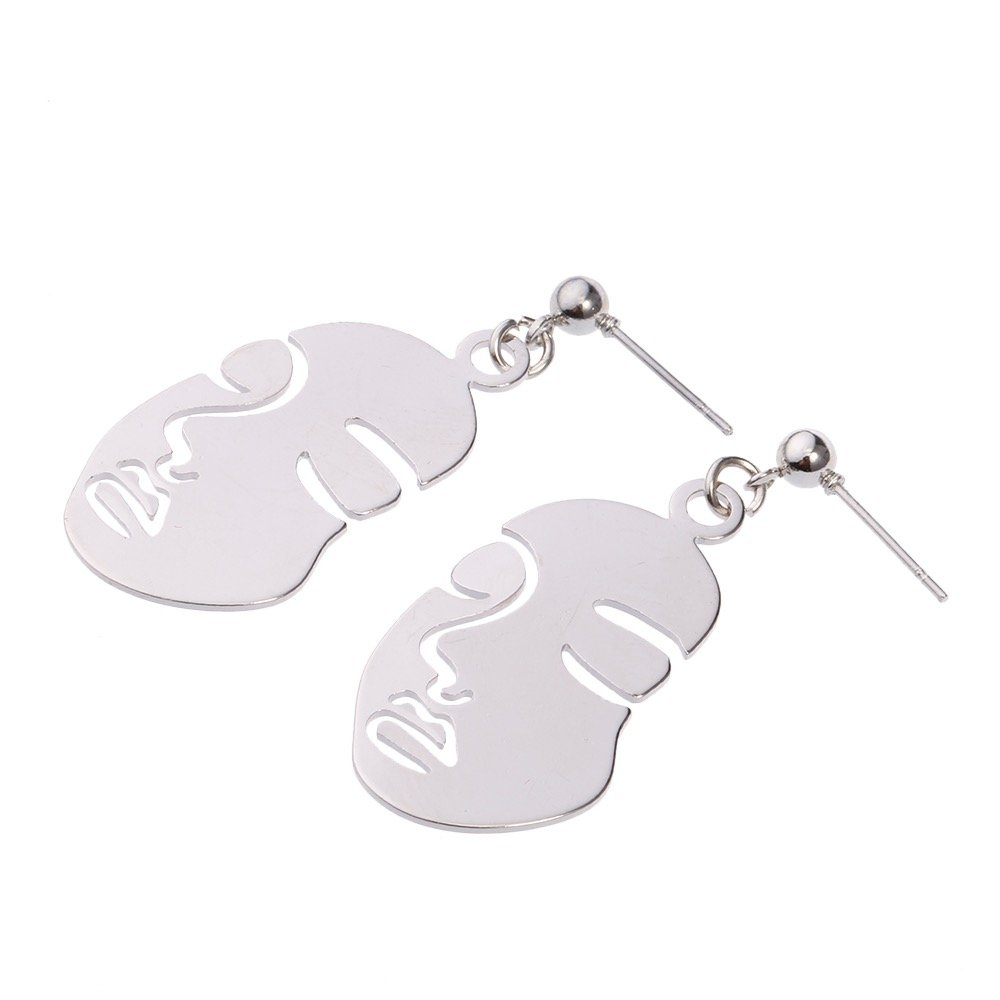 Face Dangle Stud Earrings for Men and Women Perfect for Summer (Silver)