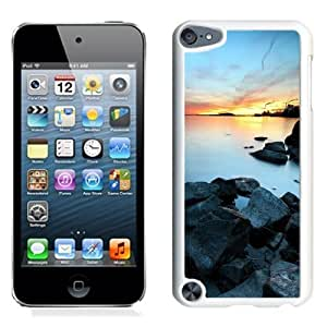 NEW Unique Custom Designed iPod Touch 5 Phone Case With Industrial Town Lake Sunset_White Phone Case