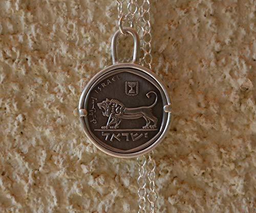 Handmade Lion Israeli Coin Pendant Necklace, 19.7