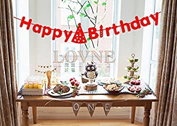 Amazoncom Red Happy Birthday Paper Banner for Party