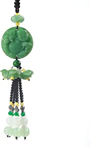 FengShuiGe Chinese Traditional Style Green Crystal Hanging Decoration House Door Window Charm Hanging Pendant Amulet Pray for Luck Safety (Laughing Buddha)