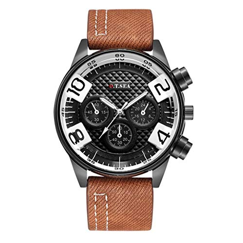 Wrist Watch for Men Under 10❤Fashion Casual Business Men's Alloy Three ye Dial Leather Belt Quartz Watch