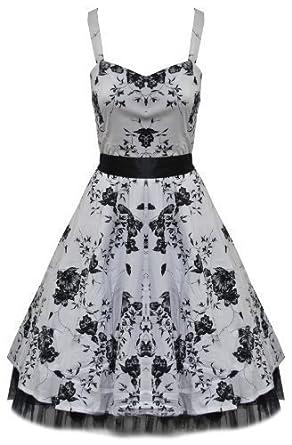Floral Halter Neck Rockabilly Prom Dress - White - Size XL