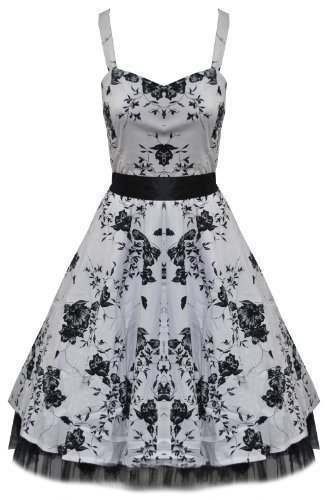 Floreado Cuello Halter Rockabilly Vintage Vestido De Graduación Blanco Y Negro - algodón, Blanco,