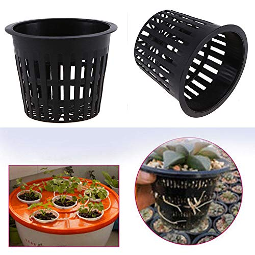 Black Pot Net Basket Hydroponic Aeroponic Garden Flower Container Plant Grow Cup
