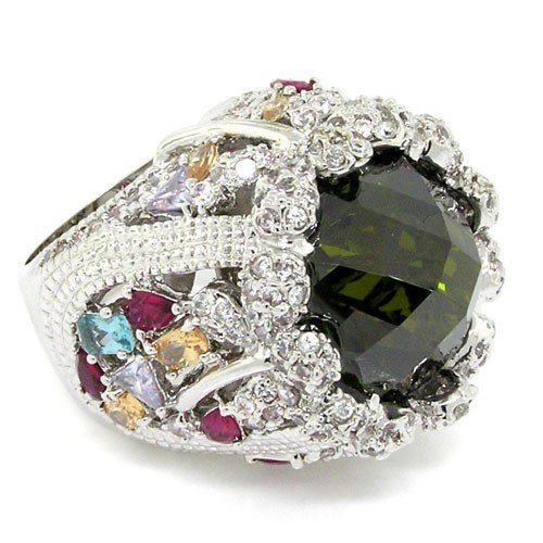 Fit for a Queen - Massive Ornate Victorian Cocktail Ring with Olivine CZ, Size 9