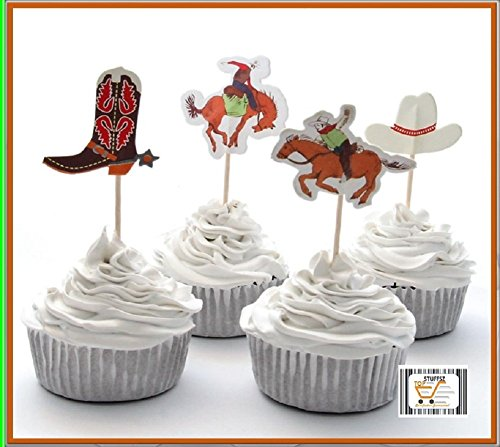 [24Pcs Rodeo Cowboy Theme Cupcake Toppers, Baby Shower Birthday Party for Kids - Decoration Supplies, Serve 24.] (Rodeo Decorations)