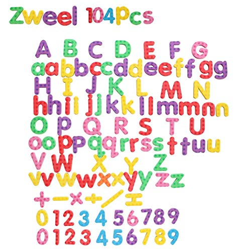 Magnetic Letters and Numbers, 104pcs Educational Refrigerator Children ABC Magnet Alphabet for Learning, Spelling and Counting Best Educational Toys -
