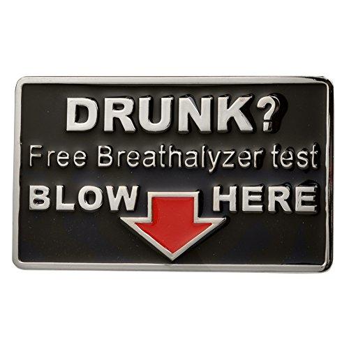 Buckle Rage Adult Mens Drunk Free Breathalyzer Test Blow Humor Belt Buckle Black