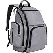 Mancro Diaper Bag Backpack, Organizer Baby Back Pack for Mom / Dad with Stroller Straps, Changing Pad & Insulated Pockets, Water Resistant Maternity Nappy Bags for Travel with Boys / Girls Care, Grey