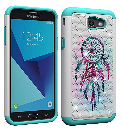 - Aiyze Compatible Samsung Galaxy J7 2017 Case US Version J720 / J7 V / J727 / J7 Perx / J7 Sky Pro Cover Dual Layer Rubber Hard Soft TPU Back Protective Coloured Drawing Glitter Diamond Dream Catcher
