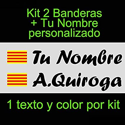 Vinilin - Pegatina Vinilo Bandera Cataluña + tu Nombre - Bici, Casco, Pala De