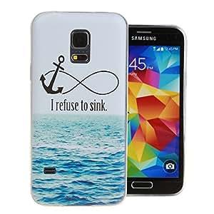 Para Galaxy S5 mini , ivencase Ancla and Sea Patrón Ultra Thin [Crystal Claro] Suave Textura TPU Flexible Trasero Protector Perfecto Fit Funda Carcasa Tapa Case Cover Para Samsung Galaxy S5 mini / SM-G800