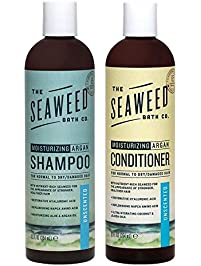 Seaweed Bath Company Unscented All Natural Organic Shampoo and Conditioner Bundle With Organic Bladderwrack Seaweed, Aloe...