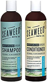 Seaweed Bath Company Unscented All Natural Organic Shampoo and Conditioner Bundle With Organic Bladderwrack Seaweed, Aloe Vera, Argan Oil and Vitamin E, 12 fl. oz. each