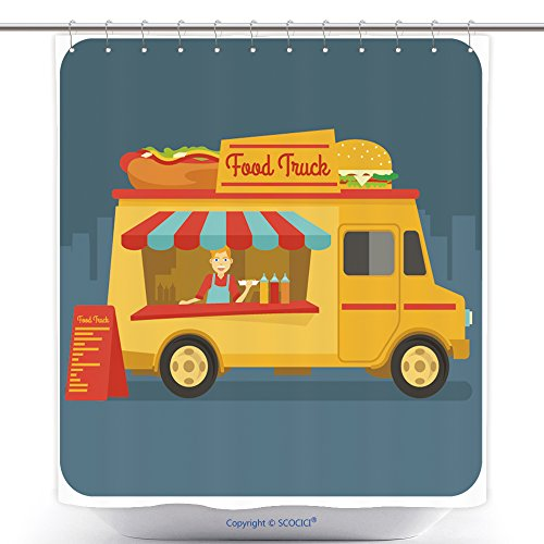 Decorative Shower Curtains A Food Truck Selling Street Food In The Down Town 463778939 Polyester Bathroom Shower Curtain Set With Hooks