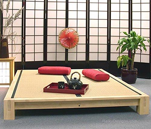 Raku Japanese Style Tatami Platform Bed King Honey Oak