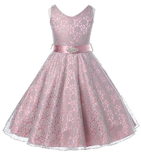 DressForLess Lovely Lace V-Neck Flower Girl Dress , Dusty rose, 8