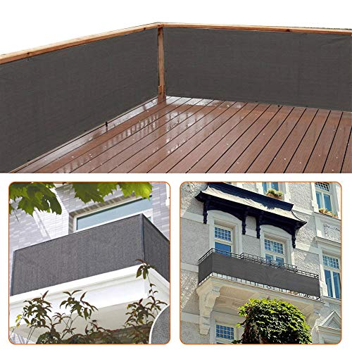 zimo Balcony Privacy Shield UV Protection Opaque Weather-Resistant Balcony Cover (Grey) 500×90cm from zimo