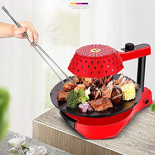 ZL Infrared Electric Grill Home Smoke-Free Barbecue Indoor Barbecue Machine Non-Stick Commercial Electric Barbecue Tray,Red