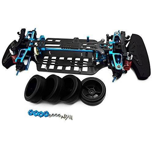 - Que-T Aluminium & Carbon Shaft Drive 1:10 Touring Car Chassis Frame Body Kit with 4 Wheels for TT01 TT01E