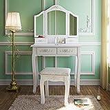 Desk Vanity Tribesigns Wood Makeup Vanity Table Set with 3 Mirror and Stool Bedroom Dressing Table Dresser Desk, White