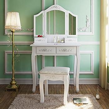 Amazon Com Bobkona St Croix Collection Vanity Set With Stool White Kitchen Amp Dining