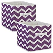 DII Fabric Storage Bins for Nursery, Offices, & Home Organization, Containers Are Made To Fit Standard Cube Organizers (11x11x11 ) Chevron Eggplant - Set of 2