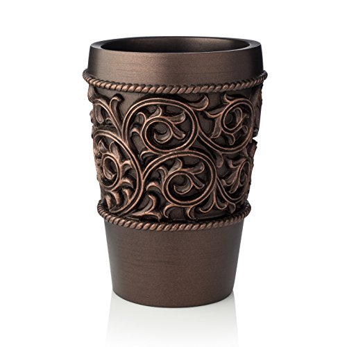 (EssentraHome Bronze Bathroom Tumbler Cup For Vanity Countertops, Also Great as Pencil/Pen Holder and Makeup Brush Holder )