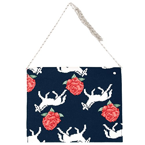 ililily Rose and Animal Pattern Stylish Envelope Clutch Bag Purse (bag-050-2)