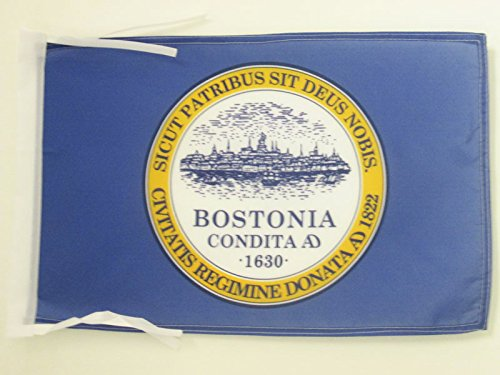 AZ FLAG Boston City Flag 18'' x 12'' Cords - Massachusetts - USA Small Flags 30 x 45cm - Banner 18x12 in
