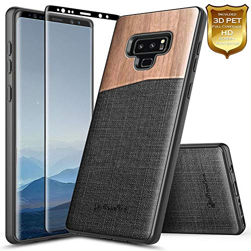 /[Full Coverage Soft Screen Protector], NageBee Premium [Natural Wood] Canvas Fabrics Heavy Duty Armor Shockproof Hybrid Rugged Durable Case for Samsung Galaxy Note 9 -Wood ()