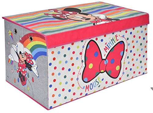 Minnie Mouse Rainbow Folding Soft Storage Bench, Perfect Toy Box or Chest for Playrooms, Officially Licensed Product