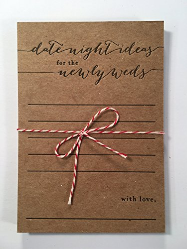 date night ideas for the newlyweds letterpress note card set, bridal shower game, bride and groom