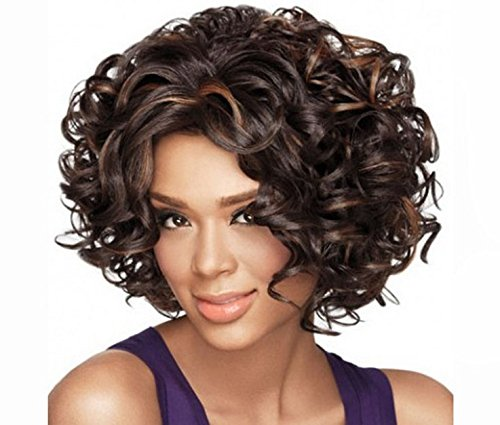 [Top fashion Human Hair Wigs for Black Women Short Fashion Curly Wigs African Amercian Wigs] (Sexy Glamour Wig In Auburn)