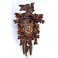1-Day Traditional Hand Painted Flowers Cuckoo Clock