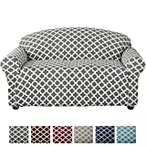 Home Fashion Designs Form Fit, Slip Resistant, Stylish Furniture Cover/Protector Featuring Lightweight Stretch Twill Fabric. Brenna Collection Basic Strapless Slipcover (Loveseat, Charcoal)