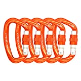 FerDIM 25KN Rock Climbing Carabiner, D-shaped Hot-forged Magnalium Locking Climbing Hook Holds 5511lbs with Screwgate Clip Climber Hiking Karabiner Outdoor Sport Tools CE Certified