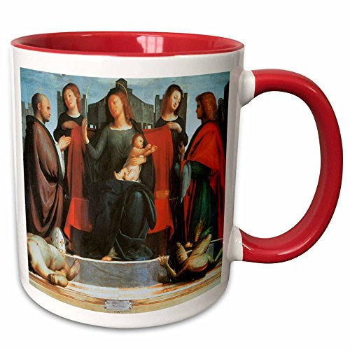 3dRose BLN Italian Renaissance Fine Art Collection - The virgin and Child Enthroned Between Saints Michael and Ambrose by Bramantino - 15oz Two-Tone Red Mug (mug_127041_10)