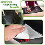 """CHERAINTI Grill Mat Oven Liner 70""""x16"""" Non-Stick Reusable Barbecue BBQ Mat, Cut to Any Size, for Gas Grill, Charcoal, Electric Grill, Electric Oven, FDA Approved, Heat Resistant 11 SMOOTH 100% NON-STICK, EASY TO CLEAN: Thanks to the non-stick teflon material. You can simply rinse with warm water to rid all leftover foods, spills or dried on liquids. You can wipe over with a damp cloth and lay flat on the top rack of your dishwasher for easy cleaning. You will be happy to know that your grill mat 